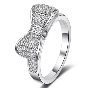🎀SALE🎀Sterling Silver Diamond Bow Promise Ring